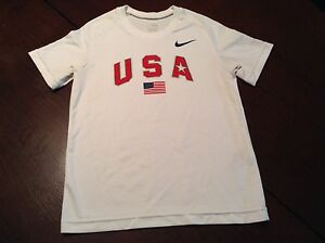 Youth Nike Fit Dry USA Short Sleeve Shirt Size XS Extra Small White