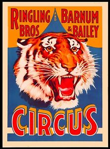 Ringling Brothers Barnum Bailey Tiger Vintage Circus Travel Art Poster Print $7.99