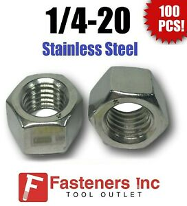 (Qty 100) 1/4-20 Stainless Steel Finished Hex Nuts 304 / 18-8 1/4