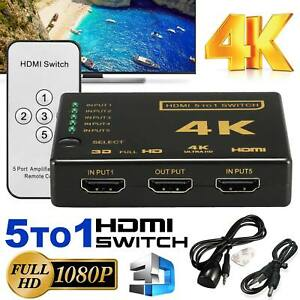 5 Port 4K 3D 1080P HDMI Splitter Switch Adapter+IR Remote Control For HDTV DVD