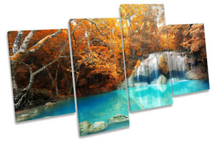 Orange Tropical River Trees Picture MULTI CANVAS WALL ART Print