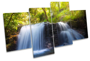 Waterfall Tropical Green Picture MULTI CANVAS WALL ART Print