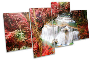 Red Tropical Landscape Picture MULTI CANVAS WALL ART Print