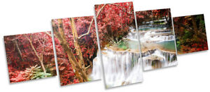 Red Tropical Landscape Picture CANVAS WALL ART Five Panel