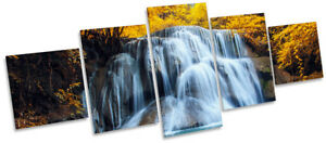 Tropical Forest Yellow Waterfall Picture CANVAS WALL ART Five Panel
