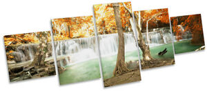 Waterfall Tropical Landscape Picture CANVAS WALL ART Five Panel