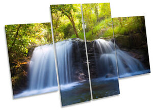 Waterfall Tropical Green Picture CANVAS WALL ART Four Panel