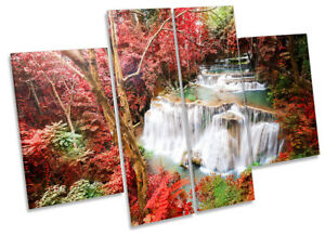 Red Tropical Landscape Picture CANVAS WALL ART Four Panel