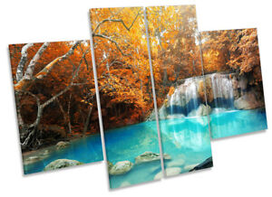 Orange Tropical River Trees Picture CANVAS WALL ART Four Panel