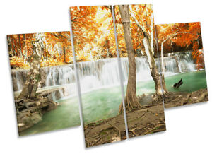 Waterfall Tropical Landscape Picture CANVAS WALL ART Four Panel