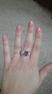Amethyst diamond 14k yellow gold ring size aprox. 6 heavy