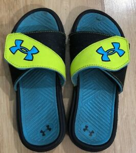 UNDER ARMOUR Sandals Size 1Y Blue Black And Yellow $15.99