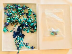 Beautiful Handmade Turquoise Lapis glass heavy Necklace and Earring set