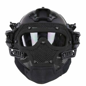 NEW Tactical Helmet Combined with Full Mask and Goggles for Airsoft Paint