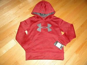 Under Armour Boys Hoodie Sweatshirt Pullover Red Big Logo 4 4T NWT