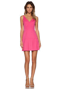 BLACK HALO Alayna Sleeveless V Neck Mini Formal Cocktail Dress Hot Pink 2 S $345