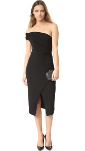 BLACK HALO Carys Sheath Front Slit Formal Midi Cocktail Dress Black 2 S $345
