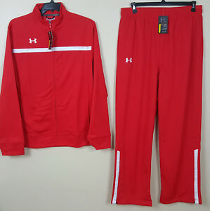 UNDER ARMOUR BASKETBALL WARM UP SUIT JACKET + PANTS RED WHITE RARE NEW (SIZE XL)