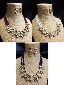 Necklace jewelry Set Traditional Kundan Gold Tone Earrings For Woman