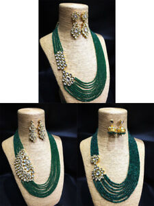 Necklace jewelry Set Green Stone Kundan Gold Tone Earrings For Woman
