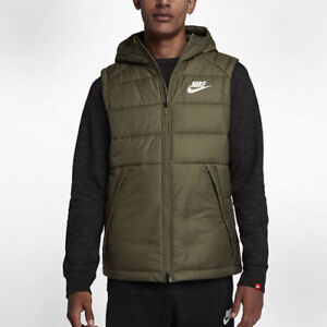 NWT MENS NIKE OLIVE HOODED VEST GILET EVODOWN SIZE LARGE FAST SHIPPING $92.99