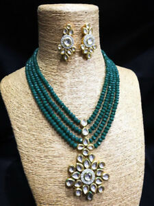 Kundan Mini Bridal Necklace Set Green Color for Woman & Girls