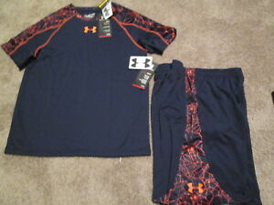 NEW Boys Under Armour 2pc OUTFIT Shorts+ss Top Blue w Orange Web YXL FREE SHIP