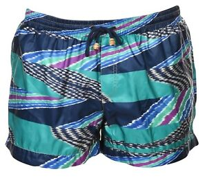 MISSONI MARE Italy Men's Slub Print Swim Trunks  Bathing Suit M Multi-Color NWT
