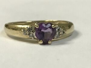 Gorgeous 10Kt Designer Yellow Gold Ring W Heart Amethyst & Diamond Accents