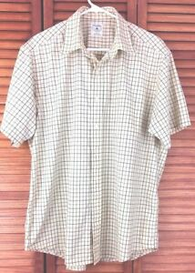 Brooks Brothers Men Sport Shirt Short Sleeves Size Large Yellow Blue Green Plaid