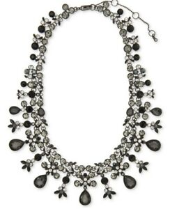 $250 GIVENCHY BLACK STONE STATEMENT NECKLACE MN7