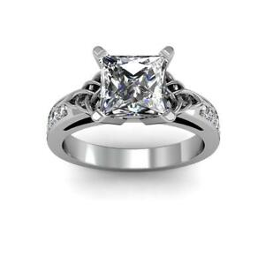 Charming Natural Princess Cut Celtic Knot Design Diamond Engagement Ring - GIA