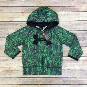 UNDER ARMOUR Boys Toddler 2T Hoodie Lime Twist Black Full Zip Track Jacket NWT