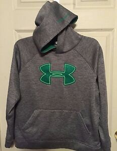 YOUTH UNDER ARMOUR GRAY GREEN LARGE LOGO STORM HOODIE BOYS GIRLS