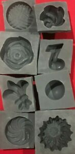 8 piece GENERIC Candy Cream Cheese Mint Grey Rubber Molds chevron heart