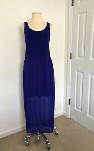 Chiffon Blue Women Dress Lined Casual Cocktail Party Maxi Petite Large