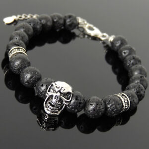 Men Women Gem Protection Bracelet Lava Rock 925 Sterling Silver Skull Clasp 1411