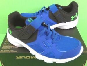 Boys Size 1213 UNDER ARMOUR BPS PACE RN AC 1272294 BLUE Hook Loop Close