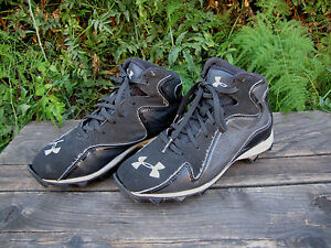 Boys Under Armour Shoes Cleats Team Sports 3Y Black White Baseball Soccer Used
