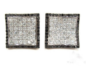 925 Sterling Silver Cz Black White Round Stud Earrings Cocktail Party Niki Gems