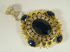 PENDANT:  NATURAL BLUE SAPPHIRE TURKISH OVAL 2-TONE HANDMADE WHITE GOLD OVERLAY
