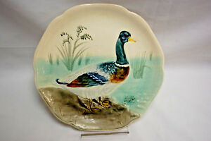 Antique FRENCH MAJOLICA Choisy-le-Roi, France MALLARD DUCK PLATE (#S8268)