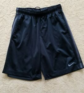 Men's Nike Dri Fit Shorts Black with Grey Swoosh and Stripes RN#56323 CA#05553