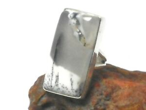 Opal  DENDRITE  Sterling  Silver  925  Gemstone  RING  -  Size: J  -  Gift Boxed