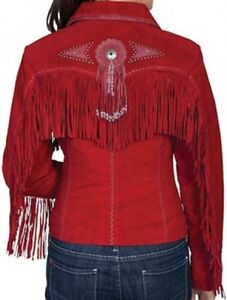 Ladies TURQUOISE~CINNAMON~CREAM~RED Suede Leather WESTERN FRINGE Jacket CONCHOS