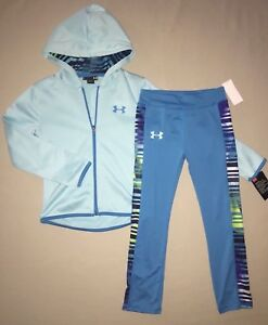 Girls Size 4 4t Under Armour Hoodie Jacket Leggings Pants Outfit Set Nwt