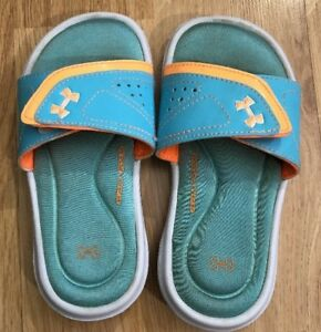 UNDER ARMOUR Sandals Baby Toddler Size 11K Orange And Green $17.69