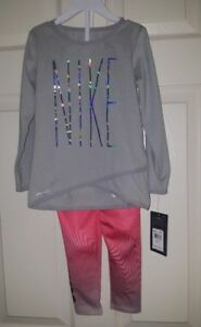 Nike Girl's 2Pc Set Crossover LS Shirt & Leggings  2T Dri Fit Gray Silver  NWT