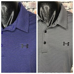 Lot Of 2 Under Armour UA Heat Hear Loose Fit Striped Golf Polo Men's 2XL
