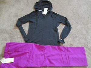 NEW Womens UNDER ARMOUR 2pc OUTFIT Hoodie Shirt Charcoal+Pants Md FREE SHIP